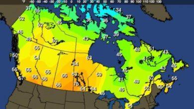 อุณหภูมิ แคนาดา